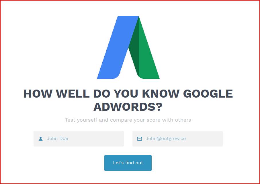google adword quiz