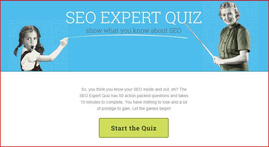 SEO Quiz example