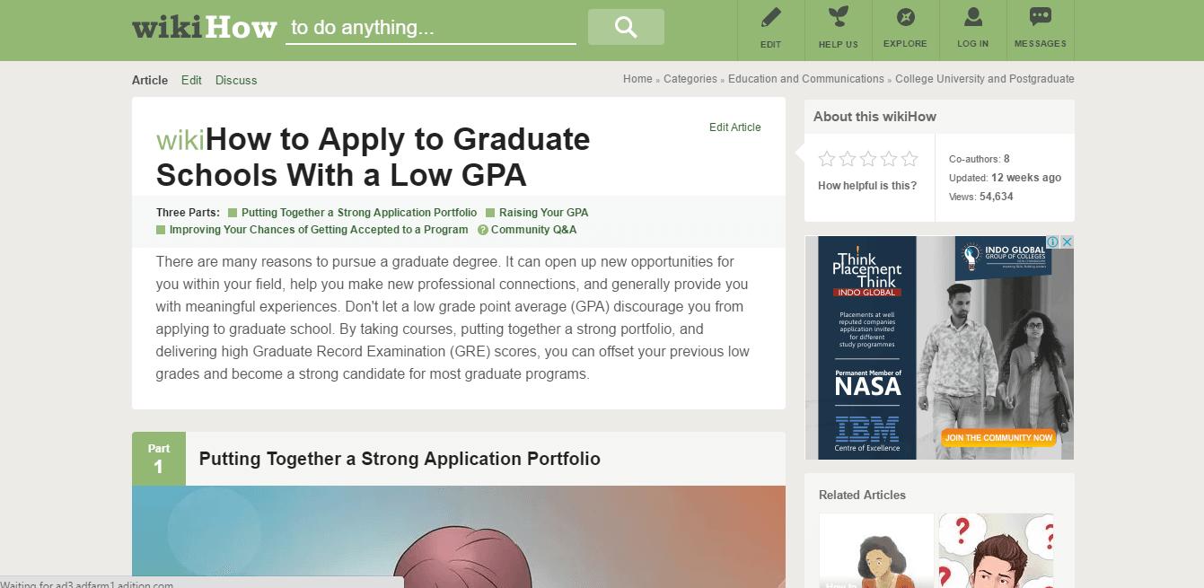 WikiHow - Graduates schools with low gpa