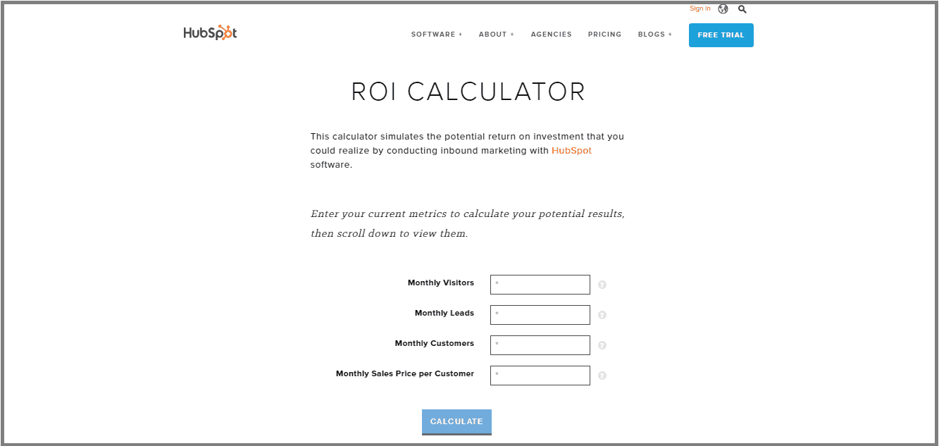 Hubspot ROI Calculator