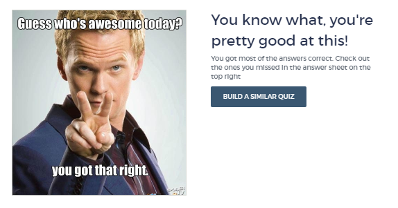 Example of Positive Messaging on Results Page