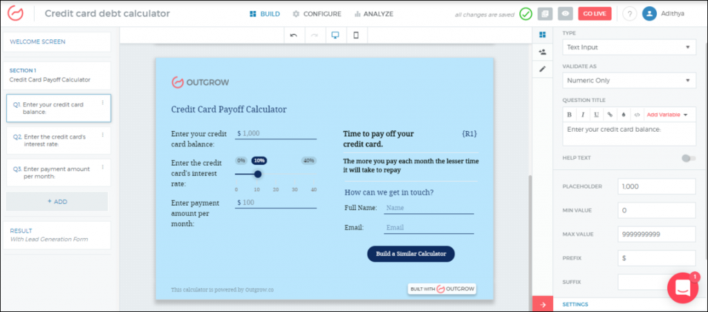 credit card repayment calculator build your own outgrow
