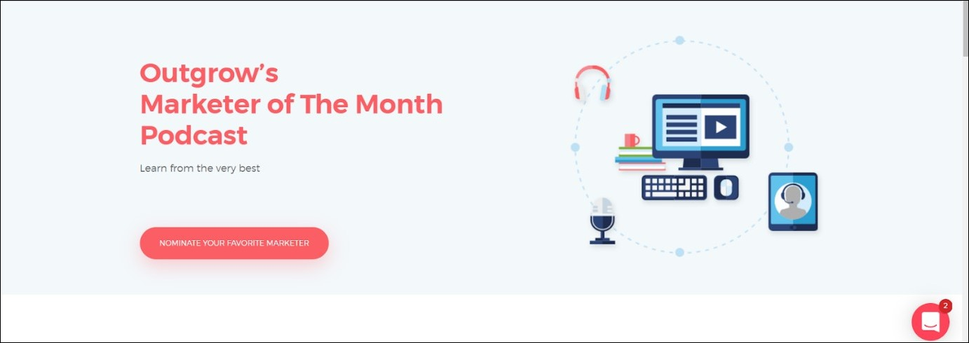 Marketer Of The Month Podcast by Outgrow: podcast for brand awareness