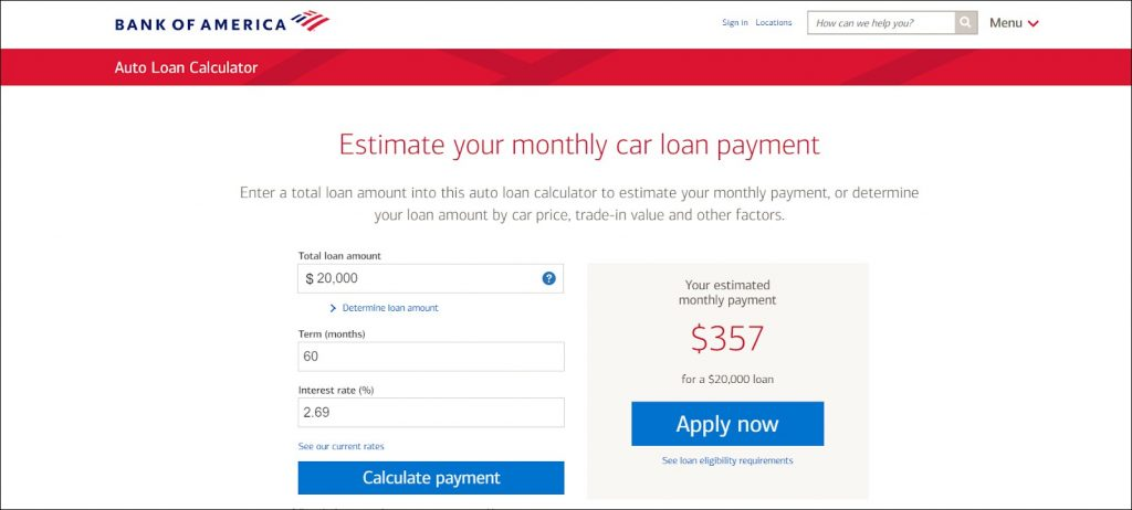 interactive auto loan calculator BOA